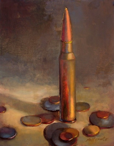 Machine Gun Bullet with Coins by artist Hall Groat II